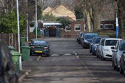 © licensed to London News Pictures. London, UK 20/02/2013. A 14 year-old teenager critically ill after being stabbed outside Ladywell Youth Centre in Dressington Avenue in Ladywell, south London. Photo credit: Tolga Akmen/LNP