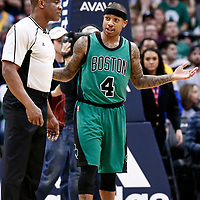 10 March 2017: Boston Celtics guard Isaiah Thomas (4) talks to referee Tony Brown (6) during the Denver Nuggets 119-99 victory over the Boston Celtics, at the Pepsi Center, Denver, Colorado, USA.