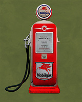 An isolated  Mobile gas station pump. The level of detail in this piece is simply astonishing, particularly in terms of the Shell Gasoline pump.<br />