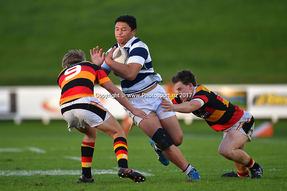 Aucklands Caleb Clarke (C is tackled by Waikatos Xavier Roe (L) and Liam Coombes-Fabling during the Jock Hobbs Memorial trophy final rugby match between the Auckland and Waikato at Owen Delany Park in Taupo on Saturday the 16th September 2017. Copyright Photo by Marty Melville / www.Photosport.nz