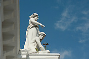 Mercury and Minerva sculptures on the facade of City Hall. Old Quarters, San Felipe, Panama City, Panama, Central America.