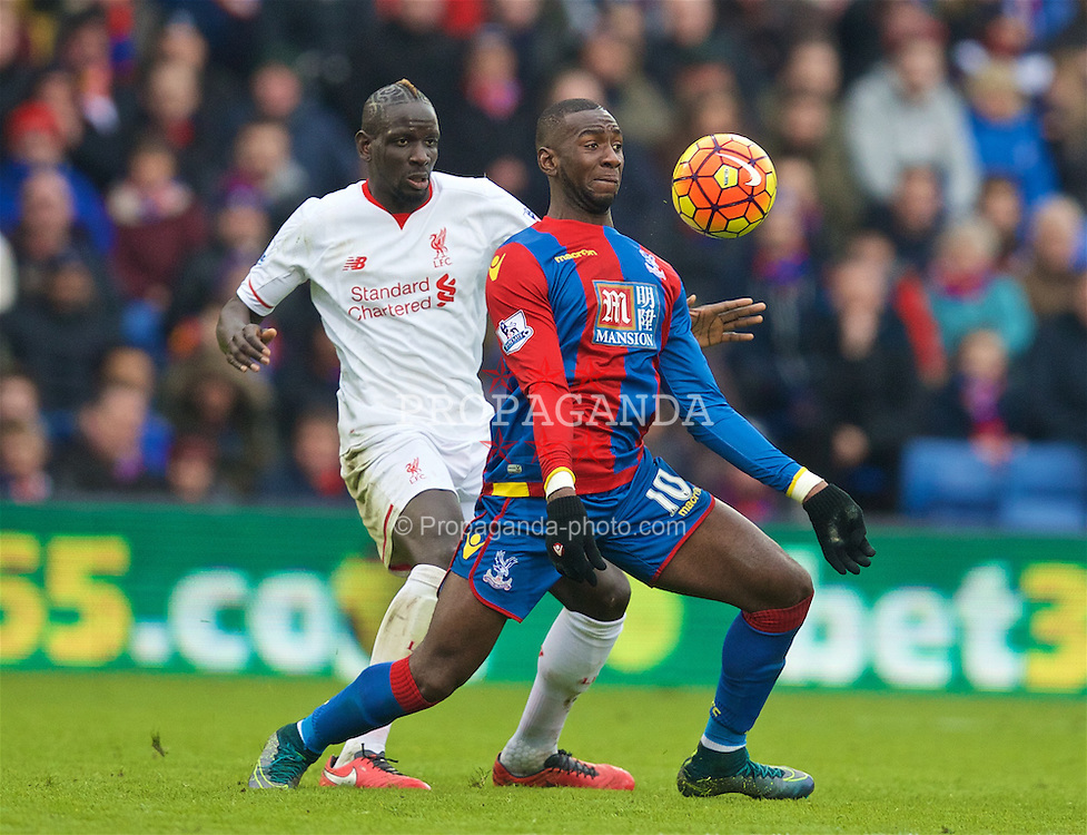LONDON, ENGLAND - Sunday, March 6, 2016: Liverpool's Mamadou Sakho in action against Crystal Palace's Yannick Bolasie during the Premier League match at Selhurst Park. (Pic by David Rawcliffe/Propaganda)