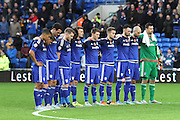 Cardiff players before kick off of the Sky Bet Championship match between Cardiff City and Reading at the Cardiff City Stadium, Cardiff, Wales on 7 November 2015. Photo by Jemma Phillips.