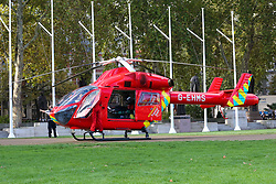 © Licensed to London News Pictures. 1/610/2018. London, UK. London's Air Ambulance lands in Parliament Square as<br /> paramedic attend a road traffic accident outside Westminster Abbey where a person had an accident with National Express coach. Photo credit: Dinendra Haria/LNP