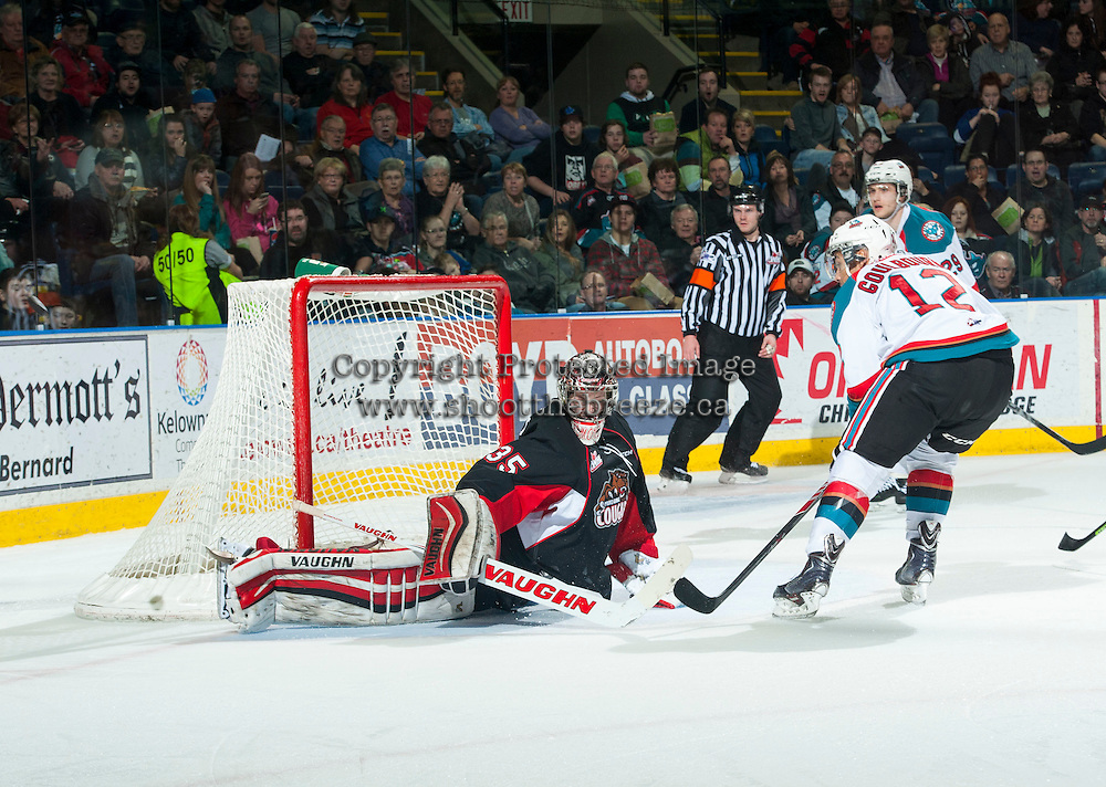 KELOWNA, CANADA - FEBRUARY 9: Ty Edmonds #35 of Prince George Cougars deflects a shot from the Kelowna Rockets on February 9, 2015 at Prospera Place in Kelowna, British Columbia, Canada.  (Photo by Marissa Baecker/Shoot the Breeze)  *** Local Caption *** Ty Edmonds;