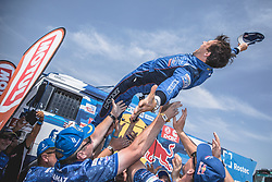 KAMAZ - Master Teame celebrate at the finish line after the last stage of Rally Dakar 2019 from Pisco to Lima, Peru on January 17, 2019. // Flavien Duhamel/Red Bull Content Pool // AP-1Y5HCGDAD2111 // Usage for editorial use only // Please go to www.redbullcontentpool.com for further information. //