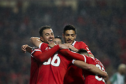 February 3, 2018 - Lisbon, Portugal - Benfica players celebrating after scoring during the Portuguese League  football match between SL Benfica and Rio Ave FC at Luz  Stadium in Lisbon on February 3, 2018. (Credit Image: © Carlos Costa/NurPhoto via ZUMA Press)