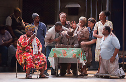 "© Licensed to London News Pictures. 10/07/2012.  London, England. Far right: Nonhlanhla Yende as Bess and Xolela Sixaba as Porgy. London Premiere of Cape Town Opera's fully-staged production of the Gershwin Opera ""Porgy and Bess"" at the London Coliseum. A limited season of 14 performances from 11 to 21 July 2012. Directed by Christine Cross, Music/Lyrics by George Gershwin, DuBose and Dorothy Heyward and Ira Gershwin, accompanied by the Orchestra of Welsh National Opera. Photo credit: Bettina Strenske/LNP"