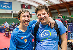 Luka Trtnik of Slovenia and coach Darko Kojadinovic celebrate during 15th Slovenia Open - Thermana Lasko 2018 Table Tennis for the Disabled, on May 9, 2018, in Dvorana Tri Lilije, Lasko, Slovenia. Photo by Vid Ponikvar / Sportida