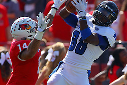 17 September 2016:  DraShane Glass defends Shawn Mitchell Jr. as he pulls in a pass.  NCAA FCS Football game between Eastern Illinois Panthers and Illinois State Redbirds for the 105th Mid-America Classic on Family Dat at Hancock Stadium in Normal IL (Photo by Alan Look)