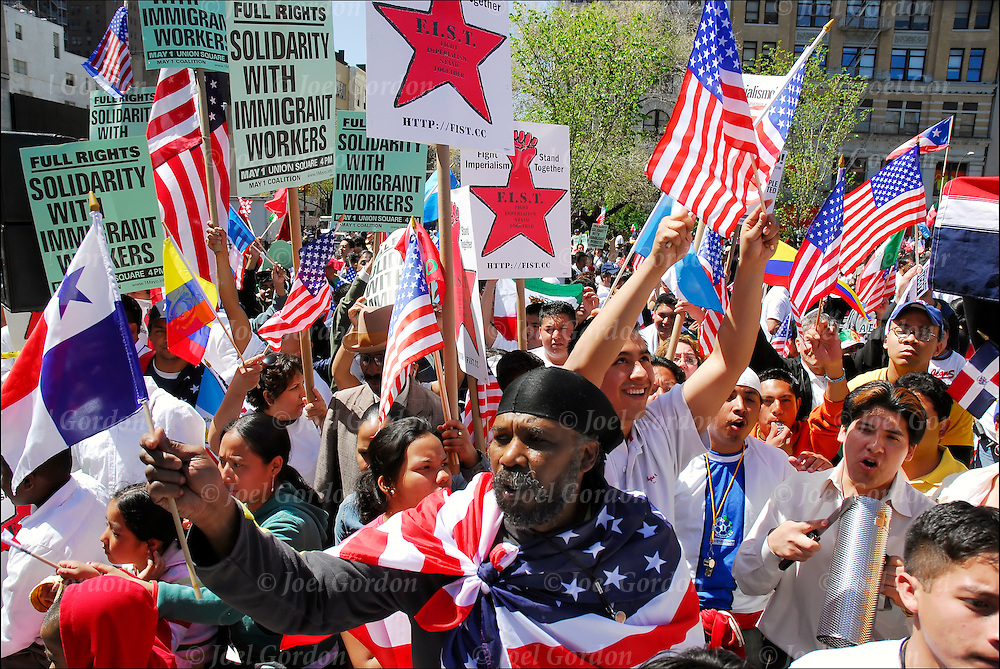 """""""WE ARE AMERICA"""", Immigrant Right Rally as part of National Day of Action for Immigrant Rights, millions calling for just and humane immigration reform and protesting anti-immigrant bills pending in Congress. April 10, 2006. 11 million undocumented immigrants in the United States."""