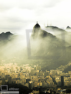 View from Pao Acucar to Corcovado with statue of Cristo Redentor, Brazil, Rio de Janeiro