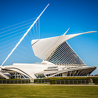 Milwaukee Art Museum picture. Located in Milwaukee Wisconsin in the United States, the Milwaukee Art Museum has over 30,000 works of art and 400,000 visitors a year. The museum preserves and collects art and also provides educational services. The photo is high resolution.