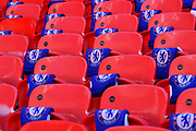 Chelsea scalves on the seats before the Carabao Cup Final match between Chelsea and Manchester City at Wembley Stadium, London, England on 24 February 2019.