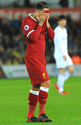 Roberto Firmino of Liverpool shows a look of dejection- Mandatory by-line: Nizaam Jones/JMP - 22/01/2018 - FOOTBALL - Liberty Stadium- Swansea, Wales - Swansea City v Liverpool - Premier League