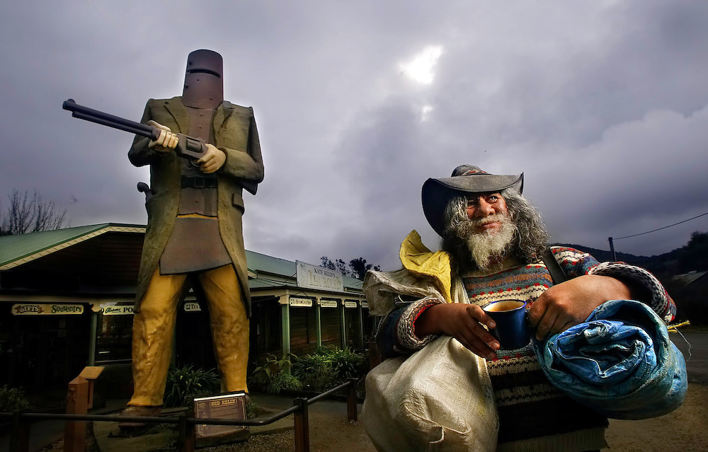 Itinerant bush poet/entertainer Campbell Irving has been living the life of a swaggy for over 25 years, he s at the 125th anniversary of the seige at Glenrowan comomorations. The rebuilt railway station and telegraph office is behind him  Pic By Craig Sillitoe This photograph can be used for non commercial uses with attribution. Credit: Craig Sillitoe Photography / http://www.csillitoe.com<br />