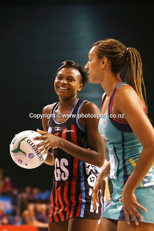 Mwai Kumwenda of the Tactix with the ball and Geva Mentor of the Vixens during the ANZ Championship Netball between Mainland Tactix v Melbourne Vixens, held at CBS Arena, Christchurch. 31 March 2014 Photo: Joseph Johnson/www.photosport.co.nz