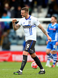 Peter Clarke of Bury celebrates victory at full time - Mandatory byline: Matt McNulty/JMP - 06/12/2015 - Football - Spotland Stadium - Rochdale, England - Rochdale v Bury - FA Cup