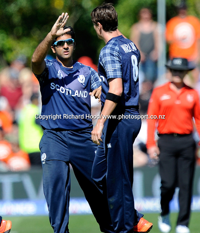 Iain Wardlaw celebrates with team mate after the wicket of Grant Elliot during the ICC Cricket World Cup match between New Zealand and Scotland at university oval in Dunedin, New Zealand. Photo: Richard Hood/photosport.co.nz