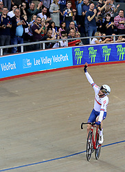Matthew Walls of Great Britain celebrates winning the Men's Omnium Points Race 4/4 during day three of the Tissot UCI Track Cycling World Cup at Lee Valley VeloPark, London.