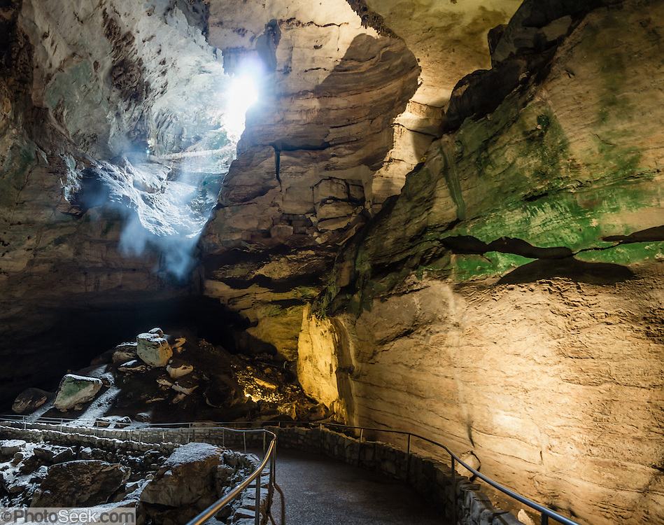 Mist In The Natural Entrance Of Carlsbad Caverns National