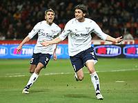 Fotball<br /> Italia<br /> Foto: Inside/Digitalsport<br /> NORWAY ONLY<br /> <br /> Rolando Bianchi (Lazio) celebrates scoring with Valon Behrami<br /> <br /> 01.03.2008<br /> Milan v Lazio (1-1)