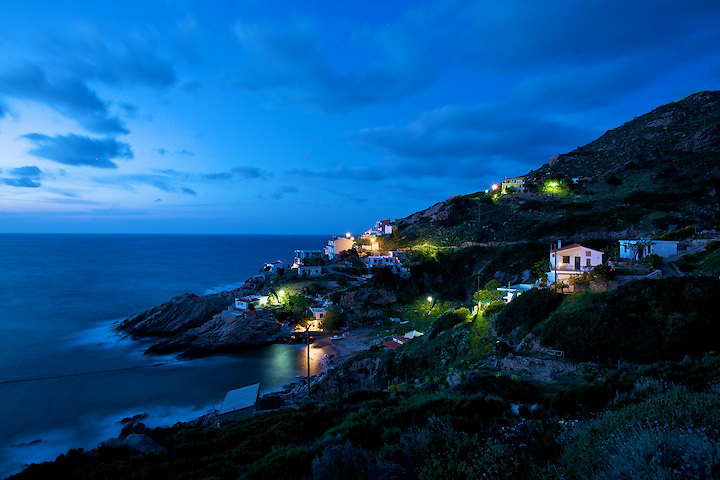 Dusk view of the north shore in ikaria
