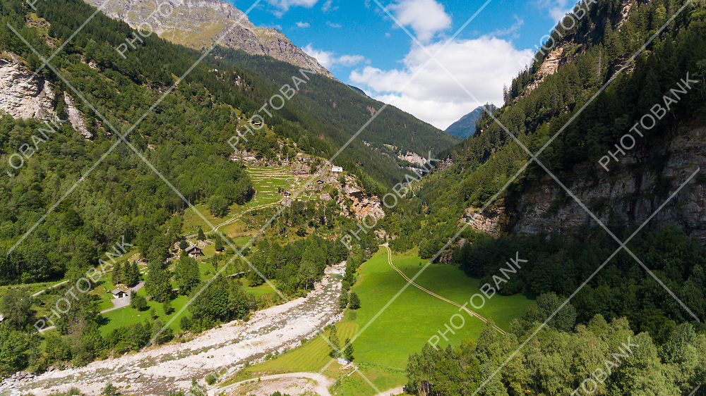 Aerial view of the Rossa valley in the canton Grisons in Switzerland