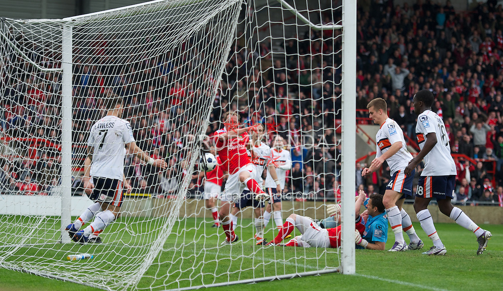 WREXHAM, WALES - Monday, May 7, 2012: Wrexham's player-manager Andrew Morrell scores the second goal against Luton Town to make it 2-1 (3-1) during the Football Conference Premier Division Promotion Play-Off 2nd Leg at the Racecourse Ground. (Pic by David Rawcliffe/Propaganda)