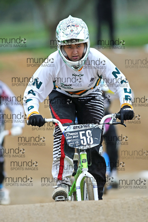 (Canberra, Australia---03 March 2012) Harriet Burbidge-Smith of the ACT competing in stage 5 of the BMX Australia Champbikx 16 Girls series at the Melba BMX Track in Canberra, Australia. Photograph 2012 Copyright Sean Burges / Mundo Sport Images. For reproduction rights and information in Australia, contact seanburges@yahoo.com. For information elsewhere contact info@mundosportimages.com.