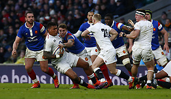 February 10, 2019 - London, England, United Kingdom - Nathan Hughes of England .during the Guiness 6 Nations Rugby match between England and France at Twickenham  Stadium on February 10th, 2019 in Twickenham, London, England. (Credit Image: © Action Foto Sport/NurPhoto via ZUMA Press)