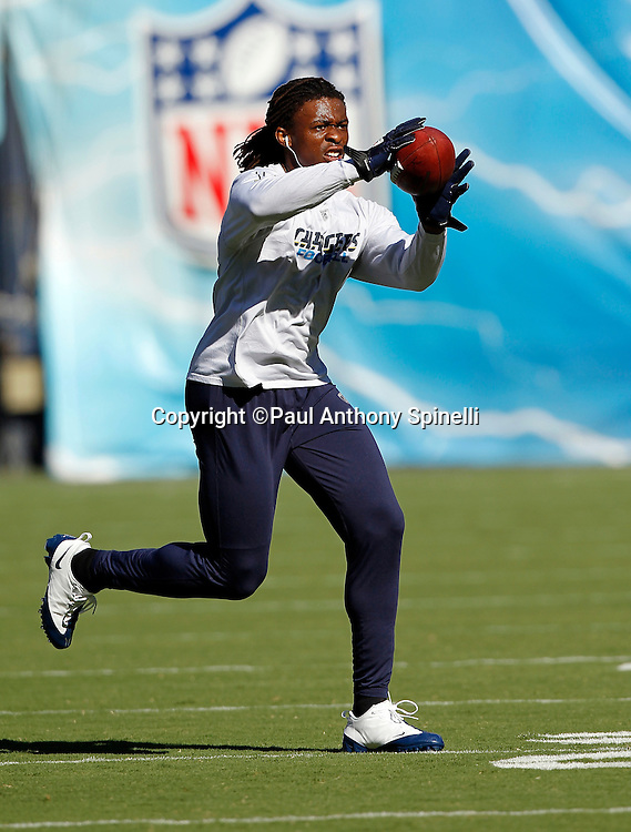 San Diego Chargers wide receiver Legedu Naanee (11) catches a pregame pass during a NFL week 1 preseason football game against the Chicago Bears, Saturday, August 14, 2010 in San Diego, California. The Chargers won the game 25-10. (©Paul Anthony Spinelli)