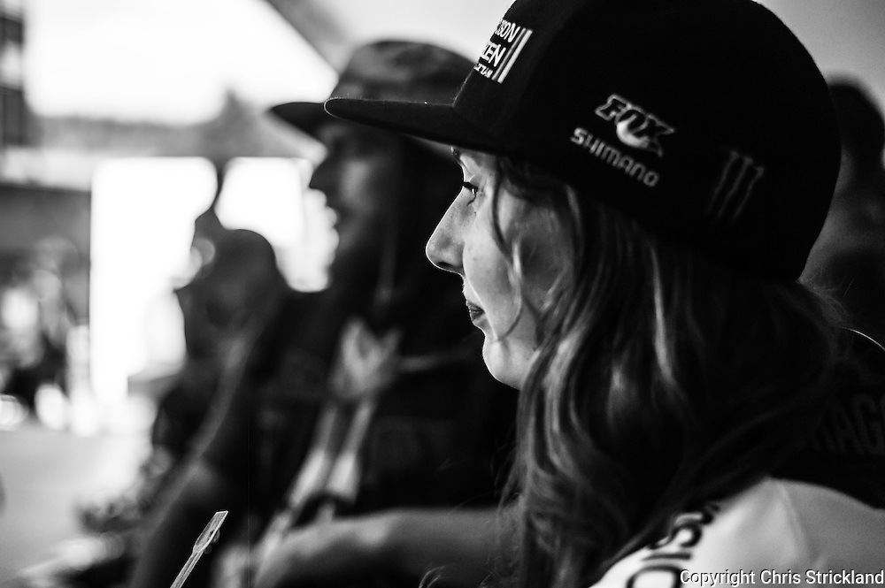 Nevis Range, Fort William, Scotland, UK. 5th June 2016. Manon Carpenter waits for the podium presentation backstage. The worlds leading mountain bikers descend on Fort William for the UCI World Cup on Nevis Range.
