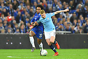 Kevin De Bruyne (17) of Manchester City battles for possession with Willian (22) of Chelsea during the Carabao Cup Final match between Chelsea and Manchester City at Wembley Stadium, London, England on 24 February 2019.