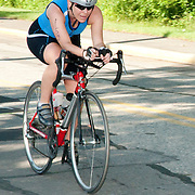 Female competitor in a local triathlon, Wakefield, Massachusetts