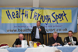 LIVERPOOL, ENGLAND - Friday, May 20, 2011: Paul Merson give a talk during the Health Through Sport charity dinner at the Devonshire House. (Photo by David Rawcliffe/Propaganda)