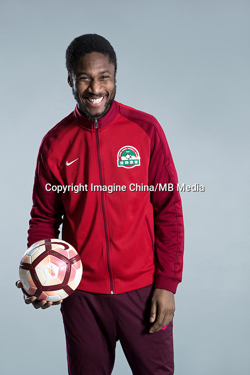 Portrait of Bissau-Guinean born Danish soccer player Edigeison Gomes of Henan Jianye F.C. for the 2017 Chinese Football Association Super League, in Zhengzhou city, central China's Henan province, 19 February 2017.