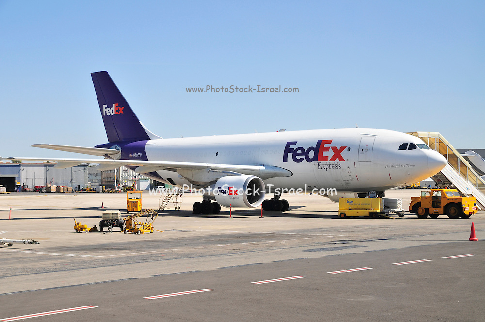 Israel, Ben-Gurion international Airport FedEx Cargo Jet on the ground