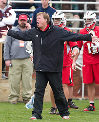 Maryland head coach Dave Cottle argues with the officials in the first overtime after an inadvertent timeout was called, negating a UMD goal.  The #9 ranked Maryland Terrapins fell to the #1 ranked Virginia Cavaliers 10 in 7 overtimes in Men's NCAA Lacrosse at Klockner Stadium on the Grounds of the University of Virginia in Charlottesville, VA on March 28, 2009.
