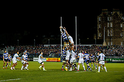 Bath Lock Dave Attwood wins a lineout - Photo mandatory by-line: Rogan Thomson/JMP - 07966 386802 - 12/12/2014 - SPORT - RUGBY UNION - Bath, England - The Recreation Ground - Bath Rugby v Montpellier Herault Rugby - European Rugby Champions Cup Pool 4.