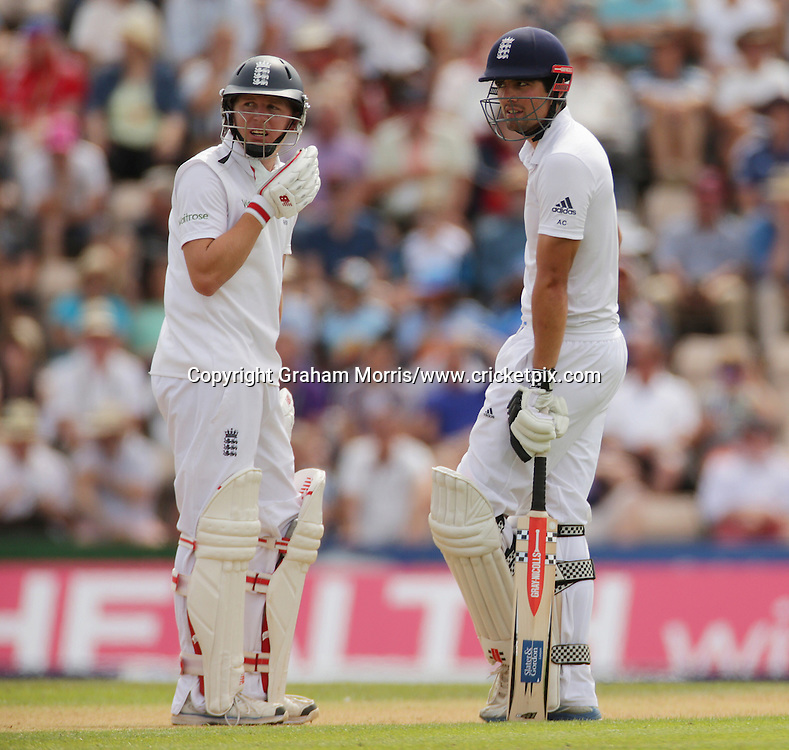 Gary Ballance and Alastair Cook (right) during the third Investec Test Match between England and India at the Ageas Bowl, Southampton. Photo: Graham Morris/www.cricketpix.com (Tel: +44 (0)20 8969 4192; Email: graham@cricketpix.com) 27/07/14