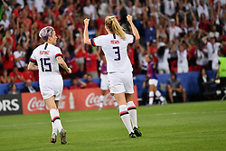 June 28, 2019 - Paris, ile de france, France - Megan RAPINOE (USA) and Alex MORGAN (USA) celebrate after the second goal during the second period of the quarter-final between FRANCE vs USA in the 2019 women's football World cup at Parc des Princes in Paris, on the 28 June 2019. (Credit Image: © Julien Mattia/NurPhoto via ZUMA Press)