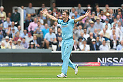 Chris Woakes of England has an unsuccessful appeal for an lbw against Aaron Finch of Australia during the ICC Cricket World Cup 2019 match between England and Australia at Lord's Cricket Ground, St John's Wood, United Kingdom on 25 June 2019.