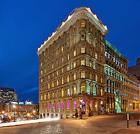 Picture of Place d'Armes hotel at dusk at the blue hour, Place d'Armes, Old Montreal, Quebec, Canada