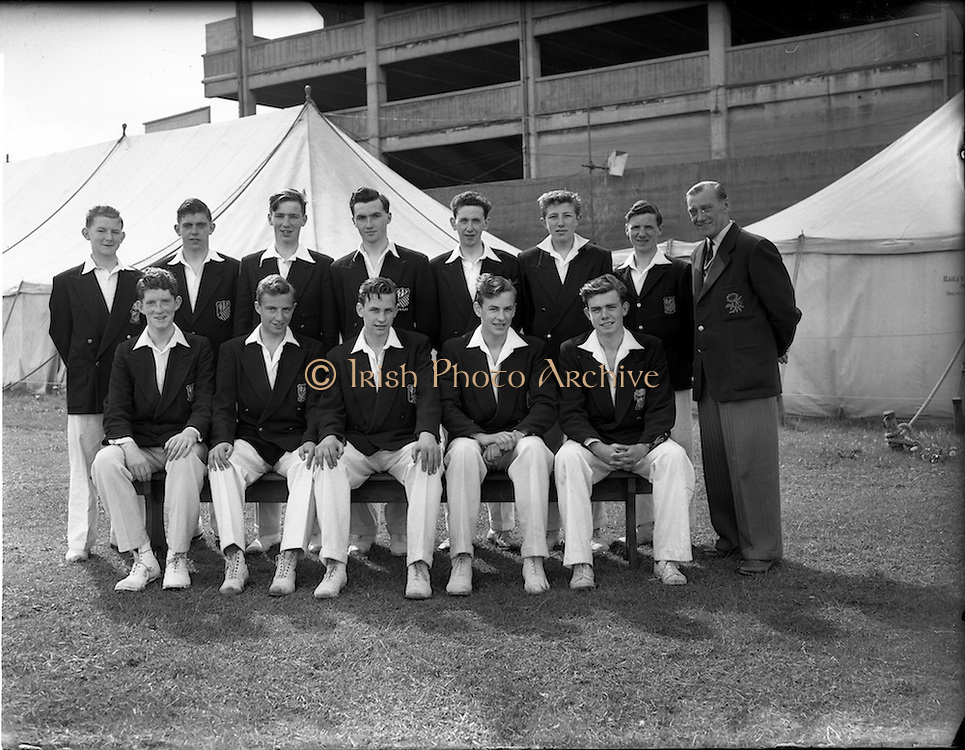 16 May 1956<br /> Belvedere College, cricket team at College Grounds, Jones Road, Dublin.<br /> l-r standing: Dermot Bradley, Joe Hickey, Brian Kelly, Ray Carroll, Sean Harkins, Charlie Kelly, John Morgan, Charlie Hallows<br /> l-r seated: Eamon Rapple, Ken Daly, Kevin O'Riordan, Alec O'Riordan, Tom Flynn