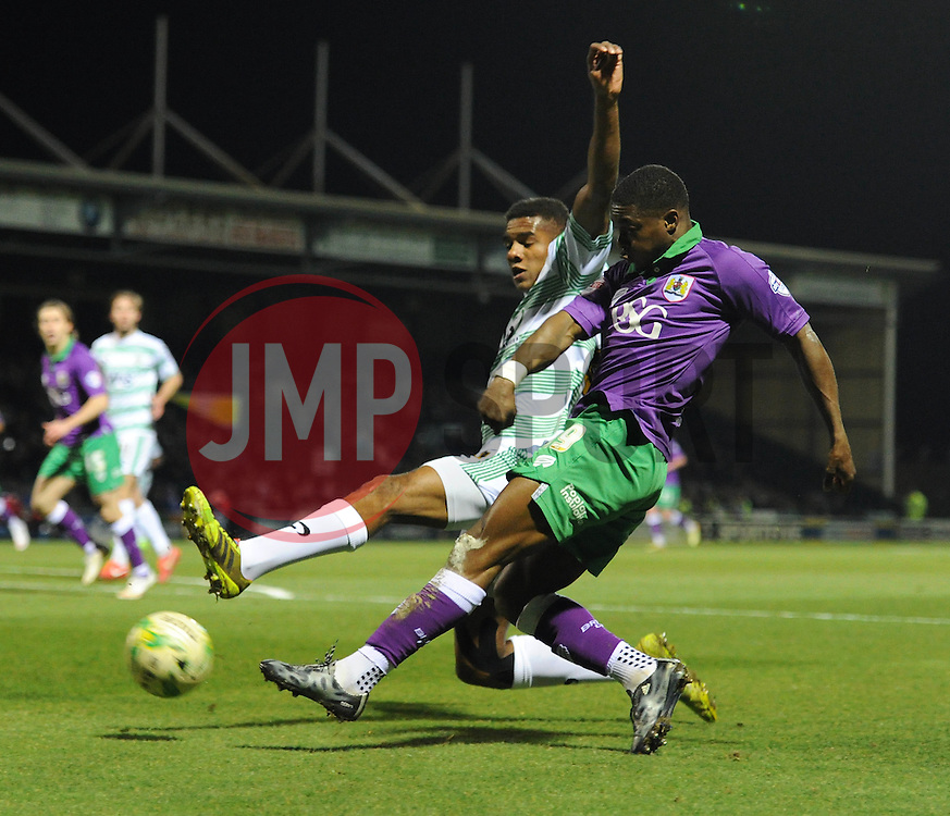 Bristol City's Kieran Agard crosses the ball into the box - Photo mandatory by-line: Dougie Allward/JMP - Mobile: 07966 386802 - 10/03/2015 - SPORT - Football - Yeovil - Huish Park - Yeovil Town v Bristol City - Sky Bet League One