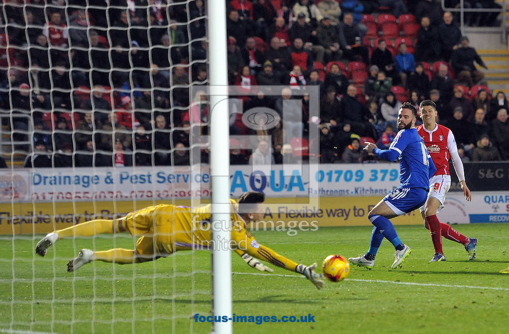 Alex Revell of Rotherham United's shot is saved by Karl Darlow of Nottingham Forest during the Sky Bet Championship match at the New York Stadium, Rotherham<br /> Picture by Graham Crowther/Focus Images Ltd +44 7763 140036<br /> 13/12/2014