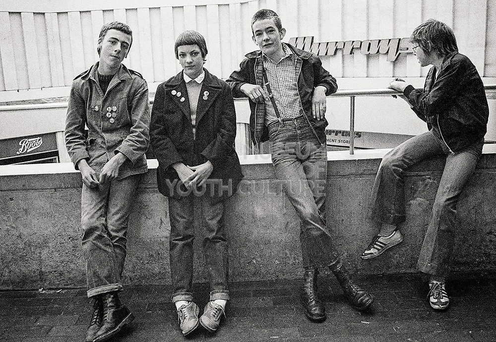 Group of young skinheads, 1980s.