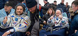 KAZAKHSTAN Near Zhezkazgan -- 02 Mar 2016 -- Scott Kelly (right) and Mikhail Kornienko (left) return to Earth after a record 340 days in space.The Soyuz TMA-18M spacecraft is seen as it lands with Expedition 46 Commander Scott Kelly of NASA and Russian cosmonauts Mikhail Kornienko and Sergey Volkov of Roscosmos near the town of Zhezkazgan, Kazakhstan on Wednesday, March 2, 2016 (Kazakh time). Kelly and Kornienko completed an International Space Station record year-long mission to collect valuable data on the effect of long duration weightlessness on the human body that will be used to formulate a human mission to Mars. Volkov returned after spending six months on the station. EXPA Pictures © 2016, PhotoCredit: EXPA/ Photoshot/ Bill Ingalls/Atlas Photo Archive<br /><br />*****ATTENTION - for AUT, SLO, CRO, SRB, BIH, MAZ only*****