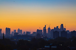 London, October 27 2017. Day breaks over London's skyline, seen from Primrose Hill. © Paul Davey